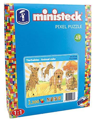 Ministeck 32787 - Mosaikbild Tierbabies 4in1, Steckplatte, ca. 2300 Steine und Zubehör, ideales Geschenk für kreatives Spielen