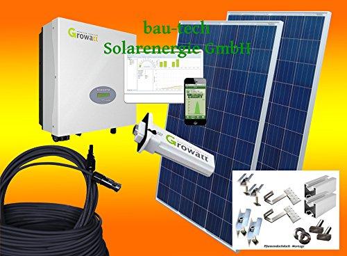 bau-tech Solarenergie 1000Watt Photovoltaikanlage für Eigenverbrauch Plug & Play Komplettset mit Montagematerial für Pfannendach GmbH