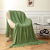 Throw Blanket, AHHUE Knitted Woven Decorative Throws with Tassels, Textured Soft Lightweight Sofa Summer Blankets for Couch,Chair,Travel and Living Room, 60 x 80 inches(Green)