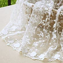 IRIS USA, Inc. 51 inches Wide Floral Embroidered Mesh Lace Fabric by The Yard -Off White (Pattern A)