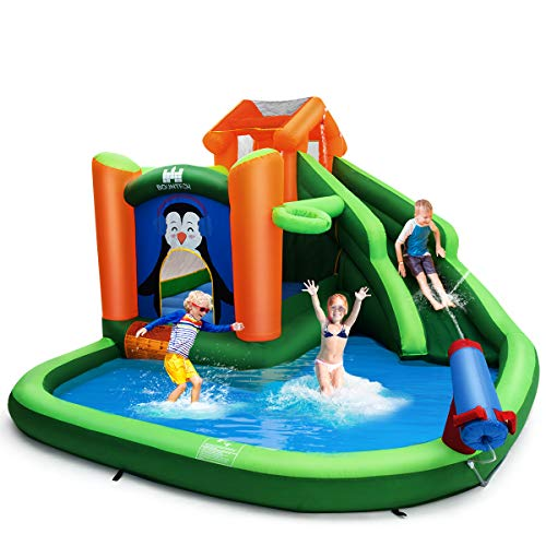 BOUNTECH Inflatable Water Slide, 6 in 1 Jumping Bounce House w/ Climbing Wall, Splash Pool, Water Cannon, Basketball Rim, Including Oxford Carry Bag, Repair Kit, Stakes, Hose (Without Blower)