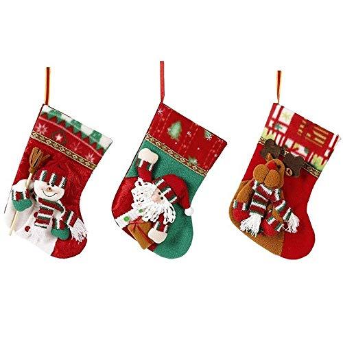 NLRHH DREI Teiler Anzug - Weihnachtsmann am Weihnachtsabend Schneemann auf den Taschen Socken Taschen von Äpfeln DIY (Farbe: dreiteilig Anzug, Größe: 24 * 14 cm) Peng (Color : Threepiece Suit)