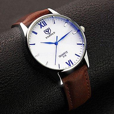 XKC-watches Herrenuhren, YAZOLE Herren Armbanduhr Quartz Leder Band Schwarz Braun Schwarz Braun (Farbe : Braun)