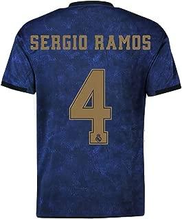 19-20 Season Real Madrid Away Football Jerseys # 4 Sergio Ramos Soccer Jerseys Navy Blue Mens Soccer Shirt Uniform