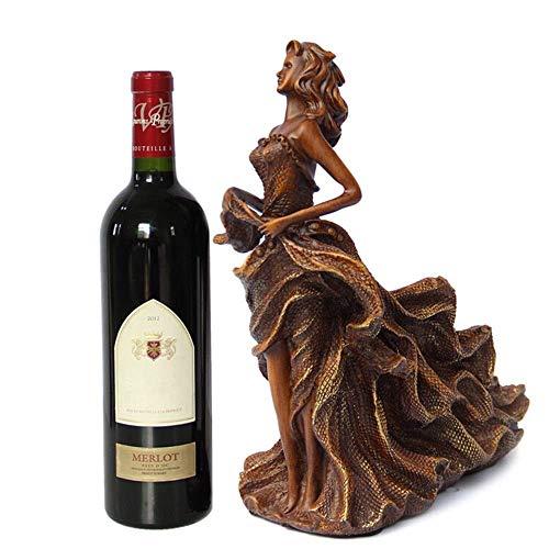 YAeele Estante del Vino Creativo Carácter Estante de la Botella de Vino Vino Rack Sala Resina Vino Holder Decoración de Almacenamiento de Cajas (Color: Marrón, tamaño: un tamaño)
