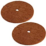 Cabilock 2pcs Coconut Fibers Mulch Ring Tree Protector Mat Natural Coco Coir Tree Protection Weed Control Mat Planter Disc Ring