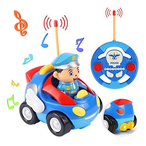 O-Kinee Policia Control Remoto, Coche Teledirigido, Tren de Teledirigido Niños, Juguetes de Racer, Regalo de Cumpleaños para niños 2 años (Azul)