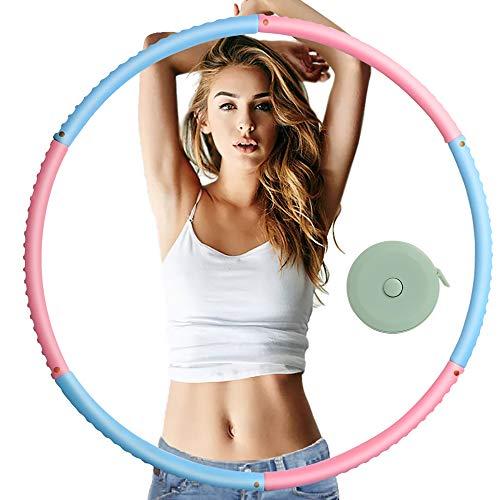 Hula Hoop zur Gewichtsreduktion,Reifen mit Schaumstoff ca 1 kg mit Mini Bandmaß, Einstellbares Gewicht 19-35 in Gewichten beschwerter Hula-Hoop-Reifen für Fitness