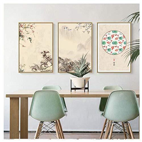 Zhaoyangeng Decoratie druk canvasafbeelding muurkunst schilderij tekeningen Chinese stijl bloemen voor woonkamer 50 x 70 cm x 3 geen lijst