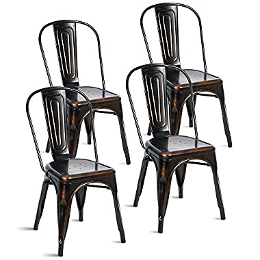 Merax Indoor-Outdoor Use Tolix Style Distressed Metal Bistro A Dining Side Chair Stackable Highback Chic Cafe Side Chair, Set of 4, (Antique Golden Black)