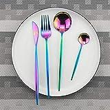 Unbekannt Rose Gold Besteck Spiegel Besteck Set Edelstahl Besteck Küchenmesser Löffel Besteck 4pcs Rainbow