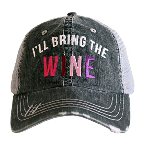KATYDID Ill Bring The Wine Baseball Hat - Trucker Hat for Women - Stylish Cute Ball Hat (Gray)
