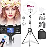 Dazzne 19inch Ring Light Stand Kit with Remote Camera Smartphone Holder CRI≥97 & TLCI ≥99 3000K-5800K Bi-Color Dimmable LED Lighting for Selfie YouTube Facebook Video Beauty Makeup Photography