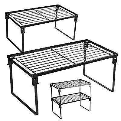 [2 Pack] Stackable Kitchen Storage Shelf Rack, Foldable Spice Rack Cabinet Organization Storage Shelves, Kitchen Shelves, Kitchen Counter & Cabinet Shelf Organizer, from