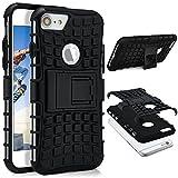 OneFlow® Outdoor Back-Cover aus Silikon + Kunststoff [Double-Layer] passend für iPhone 6S / iPhone 6 | Extrem beständiger 360° Schutz, Schwarz