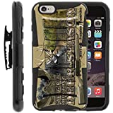 TurtleArmor   Compatible with Apple iPhone 6 Plus Case   iPhone 6s Plus Case [Hyper Shock] Armor Hybrid Kickstand Impact Silicone Holster Belt Clip Sports and Games - Deer Hunting Season