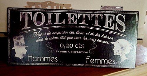 Antic Line Plaque « Toilettes,Merci de Respecter, Noire»16 * 36 cm