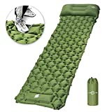 KEPLUG Inflatable Sleeping Pad for Camping, Ultralight Waterproof Sleeping Mat w/Pillow, Foot Pump Quick Inflation & Deflation, Thick Air Mattress w/Carrying Bag for Backpacking Hiking Tent Travel