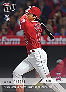 2018 Topps Now Baseball #32 Shohei Ohtani Rookie Card - 1st Career Home Run Comes in 1st At-Bat of Home Debut - English Edition