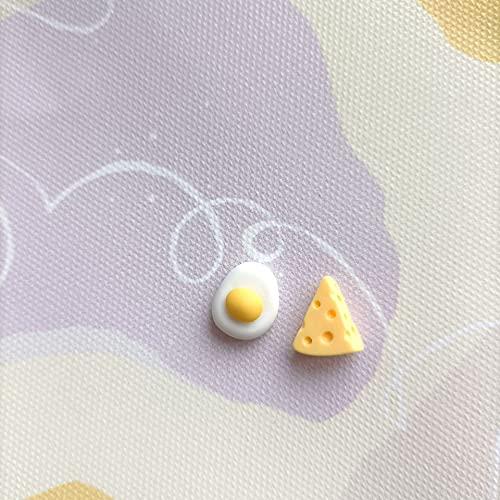 Earthily Pendientes estética, Lindo Queso de Huevo Anillos de Juguete, Pendientes de Peso Ligero Pendientes Joyería Regalo Simple, Joyería Linda (Color : Mix)