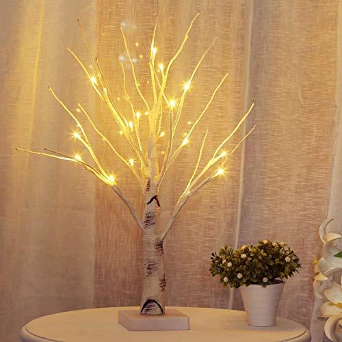 OSALADI Lámpara LED de Abedul Árbol de Mesa Bonsai Árbol Luz con Pilas Sostenedor de Joyería Decoración para Fiesta en Casa Boda Vacaciones