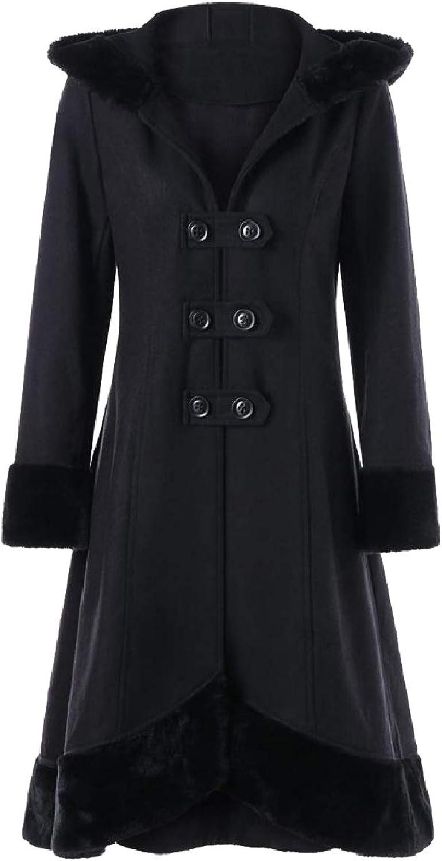 Spodat Womens Fall Winter Vintage Wool Blended Outwear Strappy Pea Coat