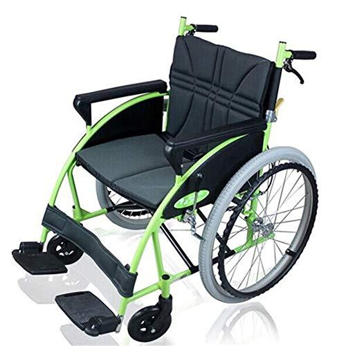 QINAIDI Rollstuhl mit Aufbewahrungstasche, zusammenklappbarer tragbarer Rollstuhl aus Aluminiumlegierung, für behinderte ältere Menschen