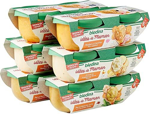 Blédina idées de maman (2 X duo de haricots verts et carottes veau, 2 X écrasé de pommes de terre poulet, 2 X mouliné de carottes riz jambon) - Lot de 2 X 6