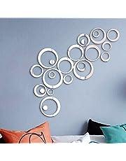 24 stuks spiegel-muurstickers, cirkelvormige wandtattoo, spiegel, wanddecoratie, muurkunst, zelfklevend, afneembaar voor slaapkamer, woonkamer, huisdecoratie