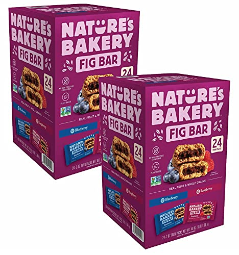 Nature's Bakery Whole Wheat Fig Bars - 2 Twin Pack Boxes, 48 Bars (24 Blueberry, 24 Raspberry Each) - Healthy Snacks - Vegan, Non-GMO