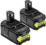 Reoben 2 pièces P108 18V 5.0Ah Remplacement pour Ryobi Batterie ONE + RB18L50 RB18L25 RB18L15 RB18L13 P108 P107 P122 P104 P102 P103 avec Indicateur LED Outils électriques sans fil