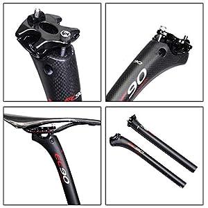 EC90 - Tija para sillín de bicicleta en fibra de carbono, ideal para bicicletas de montaña, carretera o MTB, 31.6 * 350MM, Negro