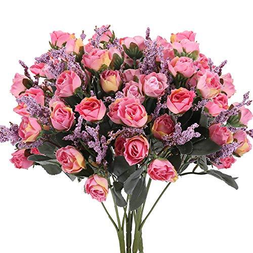 NAHUAA 4pcs Kunstblume Künstliche Rosen Blumenstrauß Künstliche Blumen Künstlich Seidenblumen Deko Kunstpflanzen für Außenbereich Hochzeit Draußen Topf