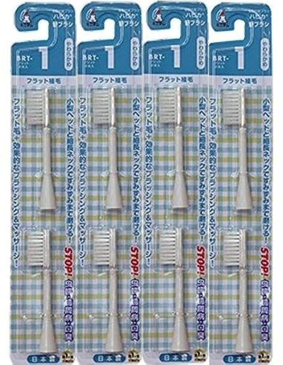 大宇宙通知する相談する電動歯ブラシ ハピカ専用替ブラシやわらかめフラット植毛2本入(BRT-1T)×4個セット