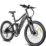 27.5 en Bicicleta eléctrica de montaña 48V Bicicletas eléctricas for adultos frenos hidráulicos,suspensión total de aire,neumáticos espesados,batería extraíble,sistema de recarga,engranaje de 9 veloci