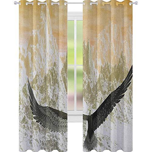 YUAZHOQI - Cortina de ventana con diseño de águila volando hacia las montañas en las nubes del atardecer, diseño de paisaje salvaje, color naranja y oliva