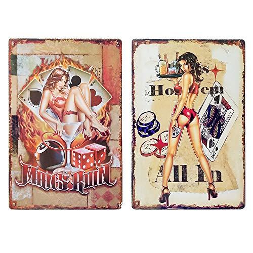 LZYMSZ 2 Letreros de Lata para Niñas Pinup, Estilo Vintage de Metal para Cafeterías, Bares, Tiendas, Carteles Decorativos para Pared, Divertidos y Retro, 20 x 30 cm