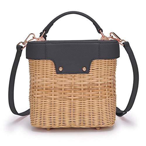Bandolera de ratán, bolso de mano, bolso de mano, bolso de mimbre, bolso de paja circular, bolsa tejida a mano, bolso de playa, bolso de hombro, para mujeres/mujeres