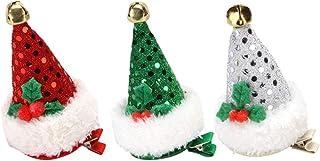 BESTOYARD Glitter Santa Hat Hair Clips Sequin Hairpins with Alligator Clip Party Hair Accessories 3Pcs