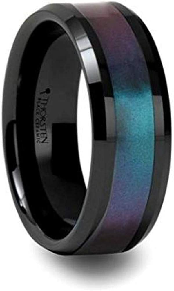 Thorsten BARRACUDA Beveled Edge Black Ceramic Ring with Blue and Purple Change in Color Inlay 8mm Wide Wedding Band with Custom Inside Engraved Personalized