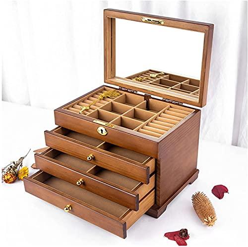 Joyero de madera de 4 capas con cierre y espejo, armario de joyería de escritorio para pendientes, anillos, collares y cajas de joyería (color: A)