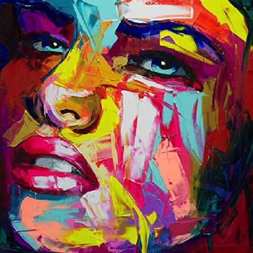 yhyxll Francoise Nielly Messer Ölgemälde HD Druck Auf Leinwand Wohnkultur Abbildung Wandbilder Bunte Gesicht Porträt Kunstwerke N 60X60 cm