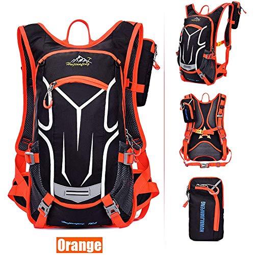 Sac à dos de vélo 18L, sac à dos durable et respirant, imperméable et anti-vol, pour le voyage en plein air, contenant des poches multifonctions, pour la course à pied et la randonnée.Etc,Orange