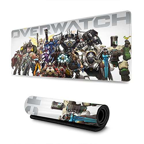 Overwatch Cool Mouse Pad Anime Gaming Large Non-Slip Rubber Mouse Pad with Stitched Edges for Office & Home 31.5 X 11.8 Inch