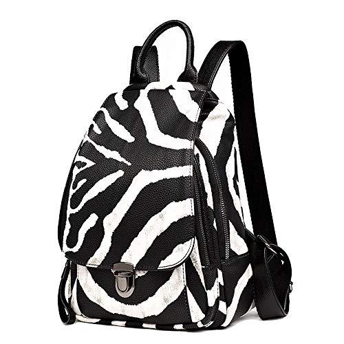 TYCXYD Zebra in wit en zwart met contrasterende strepen in de vorm van een rugzak voor meisjes, Moda Stöpsel Vibration Casual rugzak van zacht leer Marea Casual rugzak