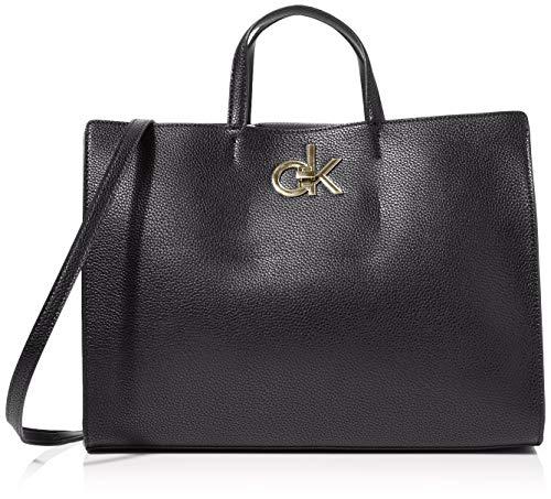 Calvin Klein Re-lock Tote - Borse a tracolla Donna, Nero (Black),...
