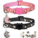 2PCS Breakaway Cats Collars with Bell Moons Stars Adjustable Kitten Collars with Pendant Glow in The Dark (Pink+Black)