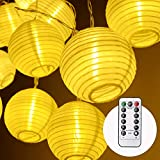 Herefun LED Lampion Lichterkette Außen, 4.2m 20 lampions Lichterkette 8 Modi IP 65 Wasserdicht Laterne Beleuchtung Aussen für Garten, Party, Geburtstag, Hochzeit Deko, Batteriebetrieben (Warmweiß)
