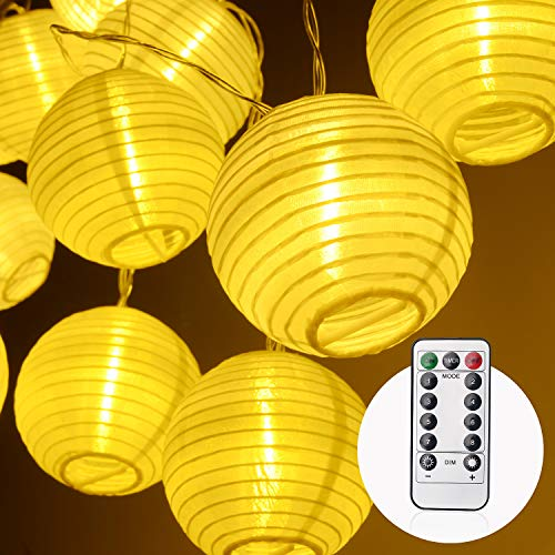 Herefun LED Lampion Lichterkette Außen, 4.2m 20 lampions Lichterkette 8 Modi IP 65 Wasserdicht Laterne Beleuchtung Aussen für Garten, Party, Geburtstag, Hochzeit Deko, Batteriebetrieben (Warmweiß)