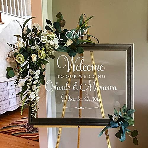 WERWN Matrimonio Benvenuto Decalcomanie Coppia Nome e Data Specchio Parete in Vinile Intimo Addio al Nubilato Decorazione di Nozze